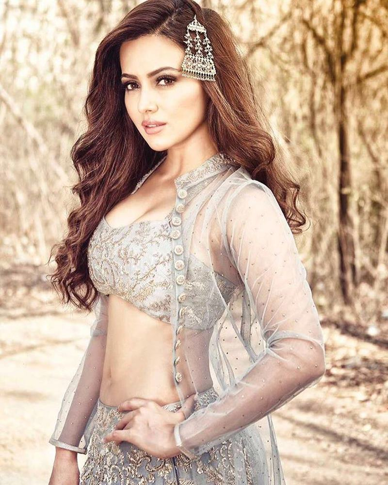 Sana Khan Spicy Navel Pics In Gagra Choli